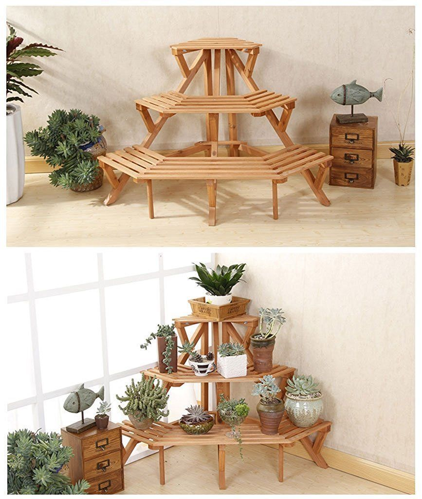 Corner Flower Pot Stand Wood 3 Tier Garden Rack Space Plant Display Shelf Decor Display Shelves Decor Plant Holders Indoor Flower Shop Interiors