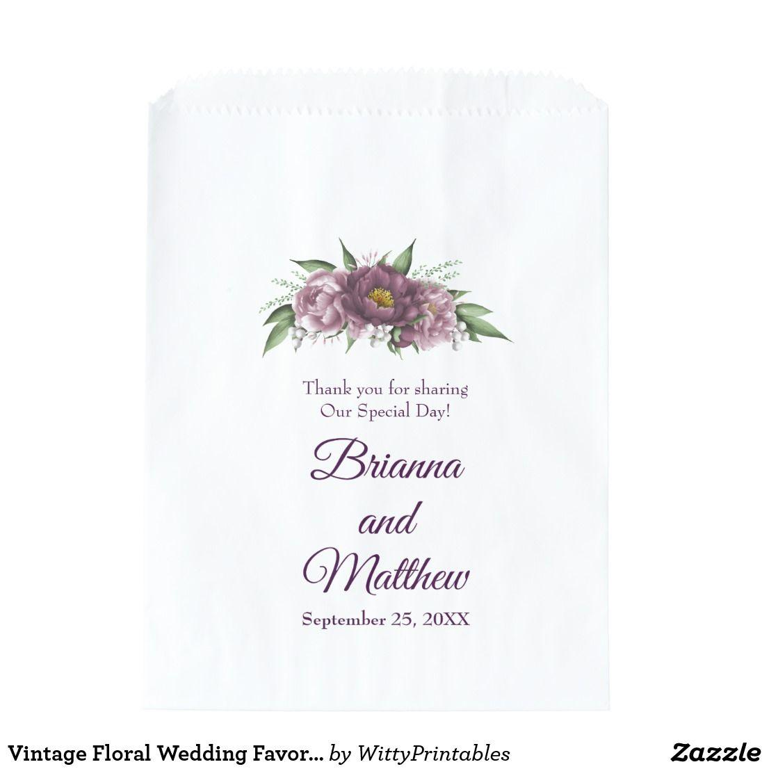 Vintage Floral Wedding Favor Bag Floral Favors   Wedding favor bags ...