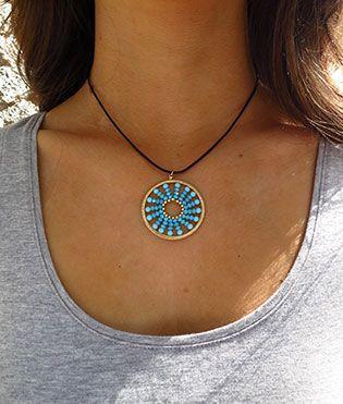 Viv&Ingrid Soleil Leather Necklace Gold/Turquoise