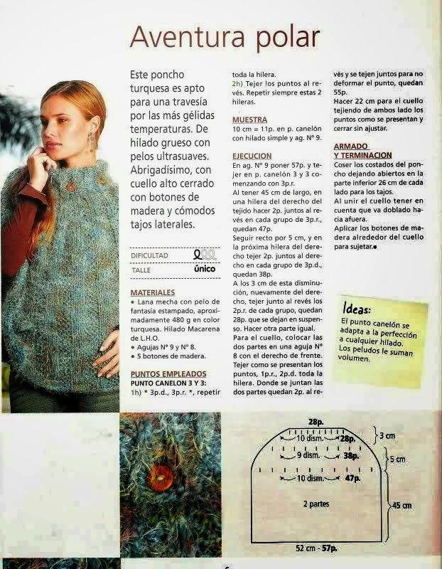 4 patrones de ponchos tejidos con dos agujas | Crochet y dos agujas ...