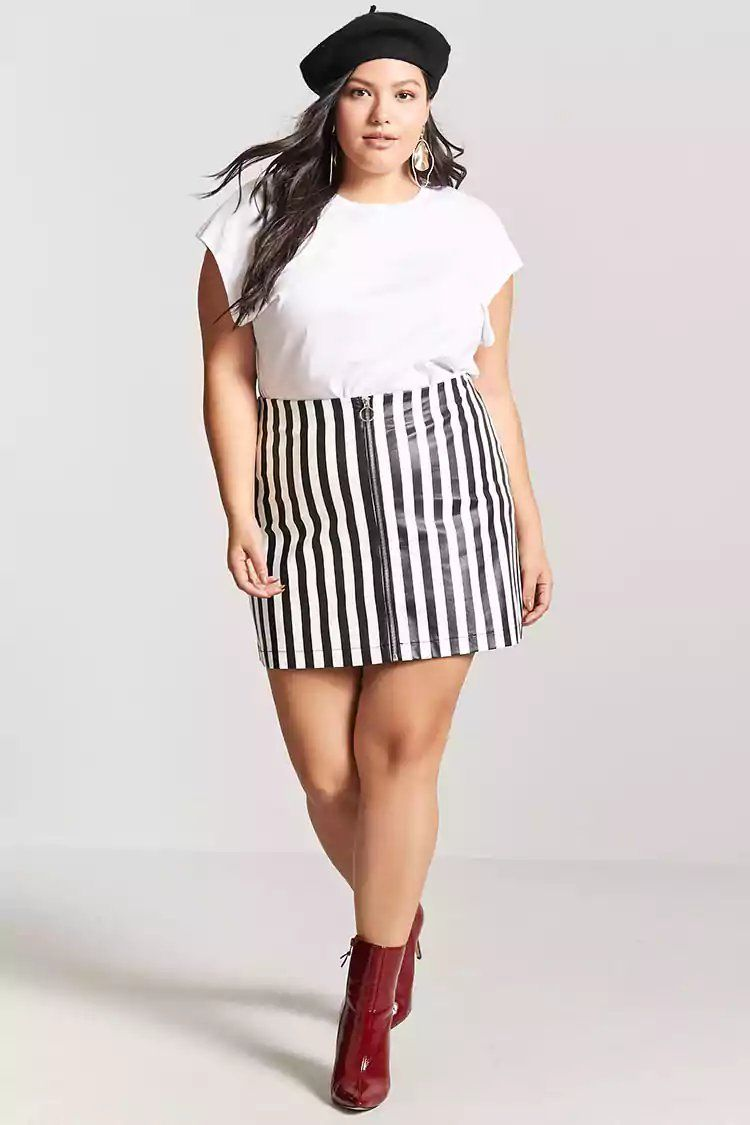 f56191700260b5 Product Name:Plus Size Faux Leather Stripe Skirt, Category:plus_size-main,  Price:19.9