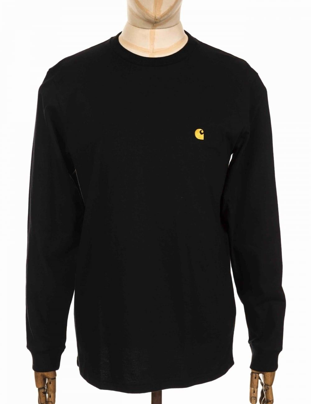 9894dfbc CARHARTT WIP L/S CHASE TEE - BLACK SIZE: X SMALL, COLOUR: BLACK/GOLD ...