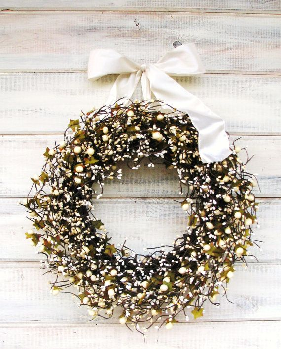 CREAM BERRY & ANTIQUE White Wreath-Spring Door Wreath-Spring or Summer Wedding Wreath-Scented Apple Cinnamon-Choose Scent and Ribbon