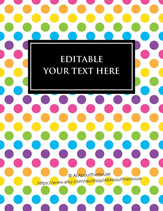 Editable Cookbook Cover : Editable printable binder cover notebook planner