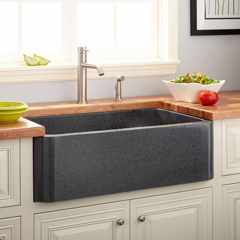 "36"" Polished Granite Farmhouse Sink Blue Gray Kitchen"