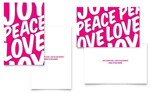 Peace Love Joy Greeting Card  Word Template  Publisher Template
