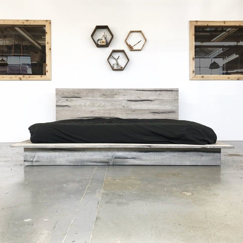 Rustic Modern Platform Bed Frame and Headboard - Boho Loft ... on Modern Boho Bed Frame  id=38950