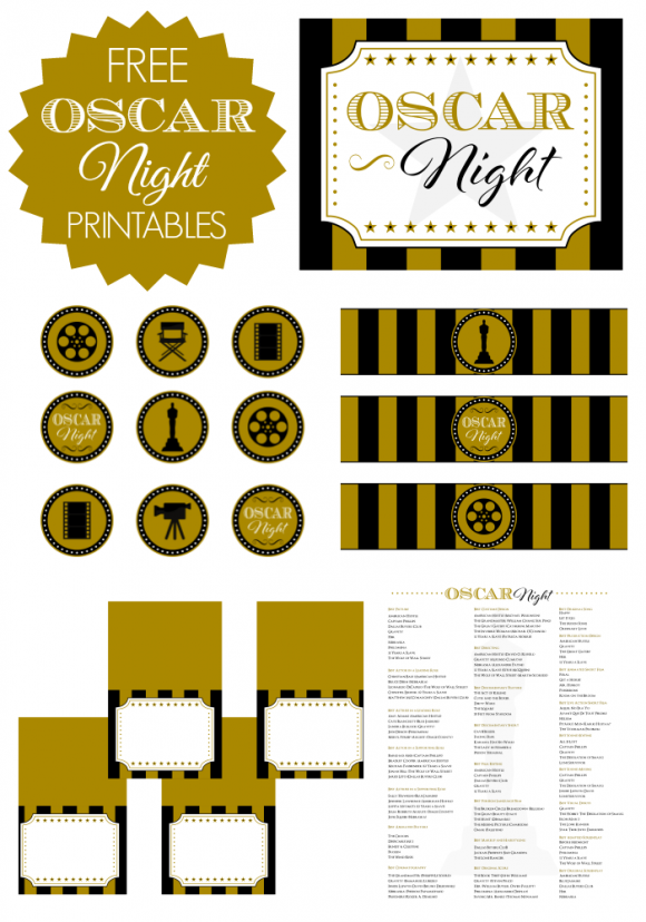 Free Oscar Night Party Printables from Printabelle | Oscar party ...