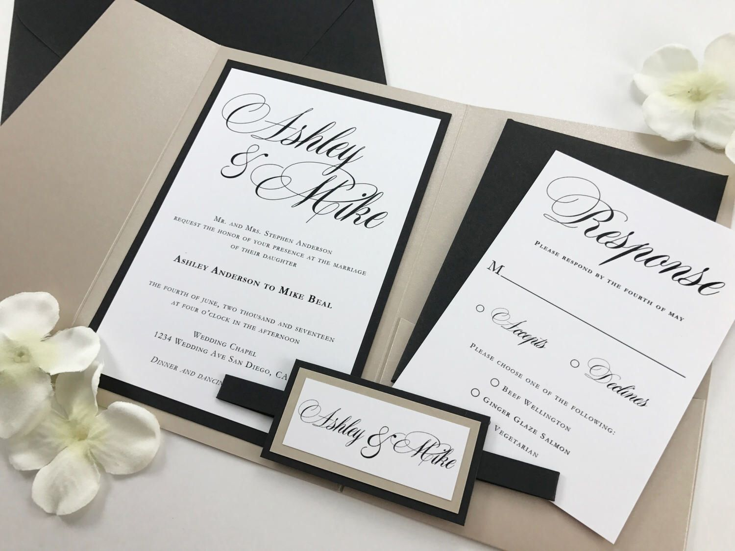 Cream White And Black Calligraphy Traditional Script Wedding Invitations Elegant Classic Flowy Invites Taupe Ivory Belly Band