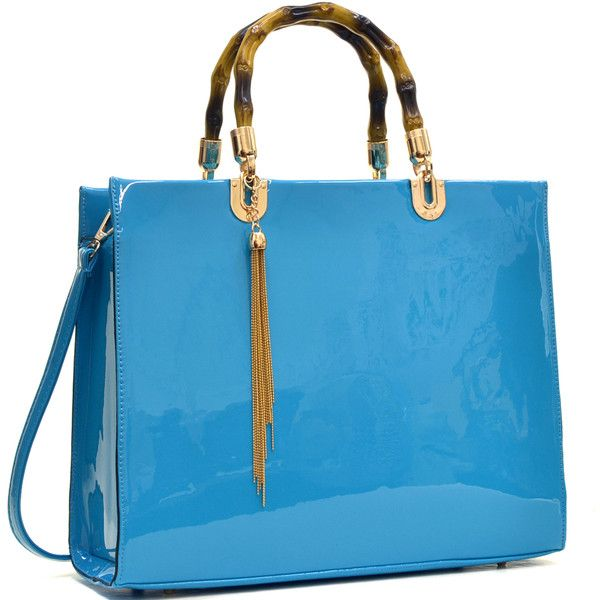Dasein Wooden Handle Patent Leather Satchel Bag ($51) ❤ liked on Polyvore featuring bags, handbags, beige, patent leather handbags, beige purse, leopard purse, blue patent leather handbag and blue satchel handbags