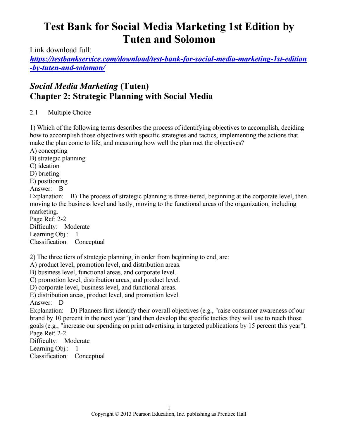 Test bank for social media marketing 1st edition by tuten and ...