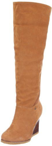 """UGG Women's Ravenna Boot-CS UGG Women's Ravenna Boot is a below the knee boot that allows for the collar to be cuffed up or down for alternate styling. Featuring a 3"""" wooden wedge heel for modern style, the UGG Ravenna has all the comfort that you have come to expect from UGG Australia. Nubuck and genuine sheepskin upper and lining/crepe sole. 3"""" wooden wedge style heel. Approximate boot shaft height: 17"""" (when extended). EVA midsole. By UGG Australia; Imported."""