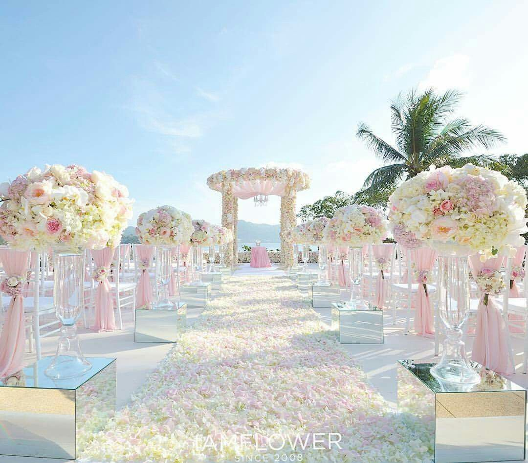 Belongil Beach Wedding Ceremony: Pink Beach Wedding.
