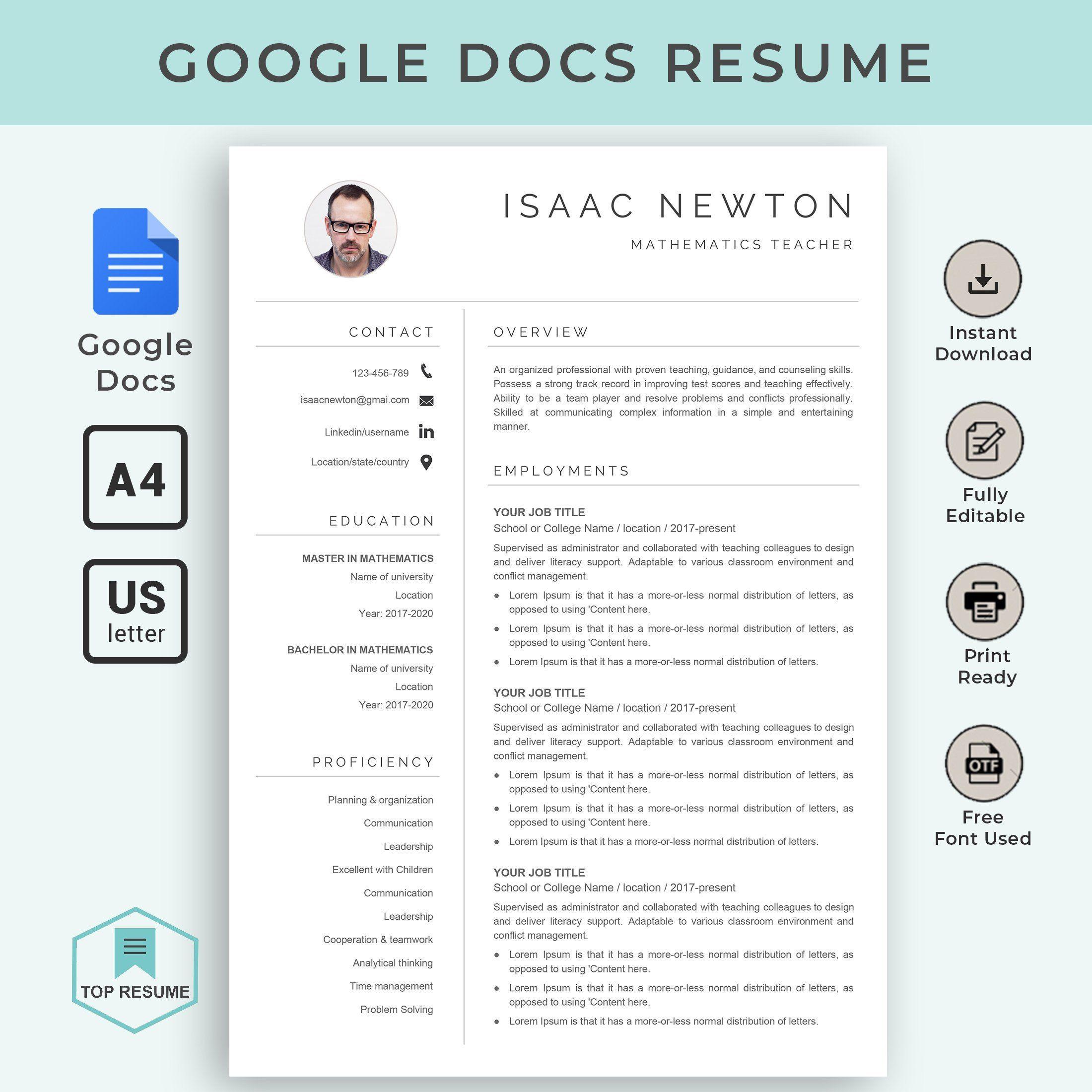 Google Docs Resume Google Docs Resume Template Teacher Resume