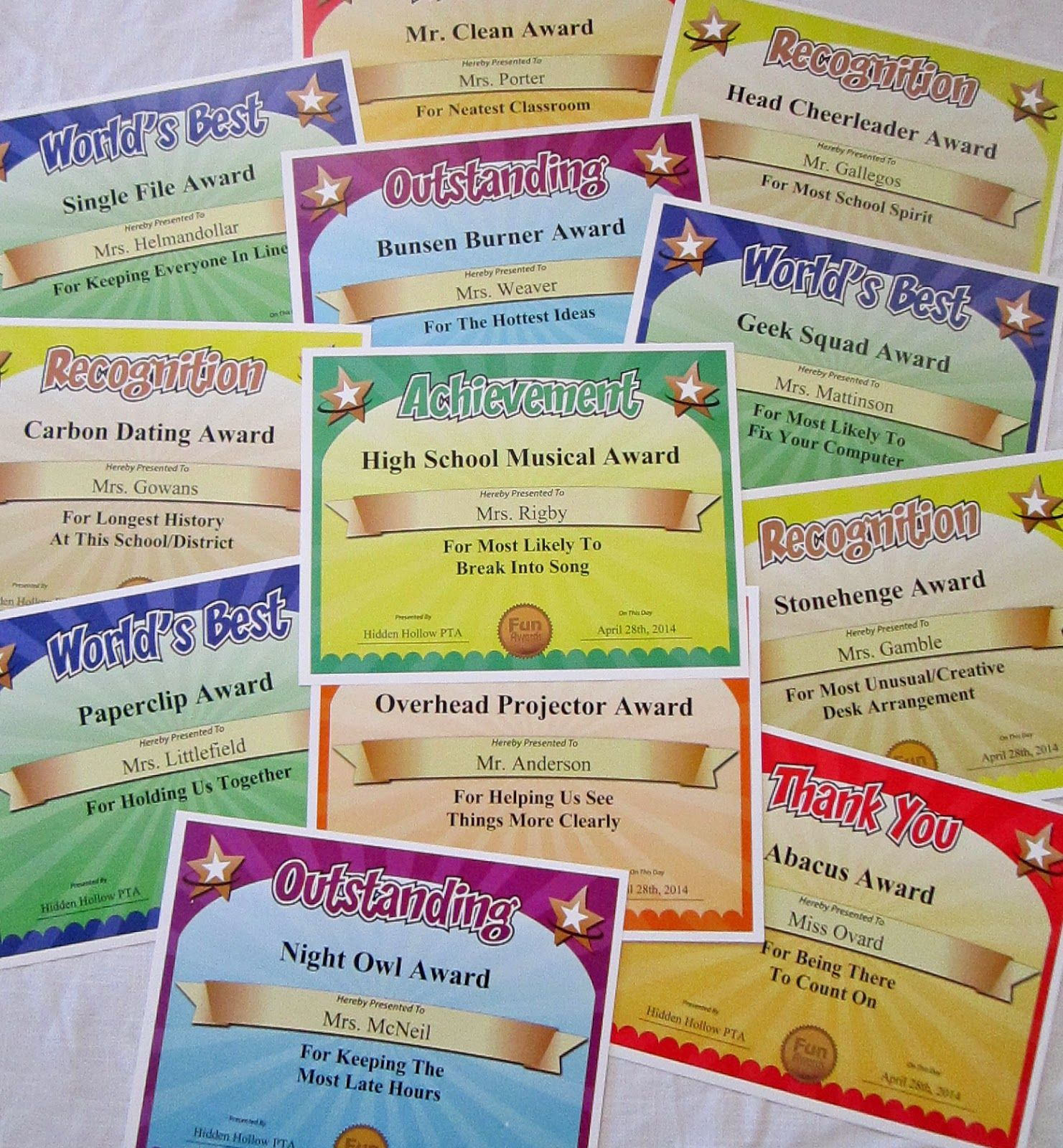 Funny Award Ideas For Employees Humorous Awards For The Office Gag Awards For Staff Sill Teacher Appreciation Week Funny Teacher Awards Teacher Appreciation