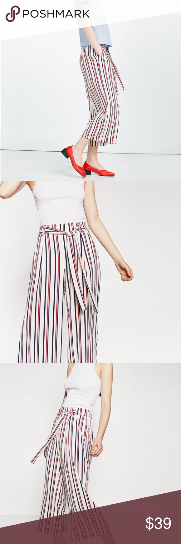 Zara Cropped Flowing Trousers Red Blue Striped S In excellent condition. Worn just one time. Zara Pants Trousers