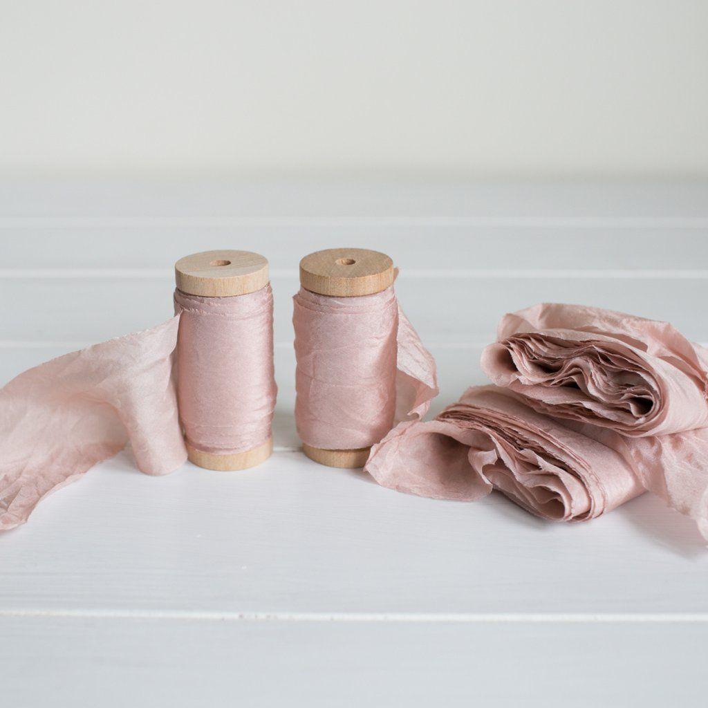 ROSE QUARTZ Habotai Silk Ribbon  /  Plant based and Hand Dyed