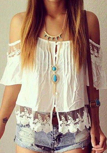 Love the Lace! Boho Chic White Lace Patchwork Lace Off-The-Shoulder Chiffon Blouse #Sexy #Boho #Chic #Bohemian #Style #White #Lace #Off #Shoulder #Top #Summer #Fashion