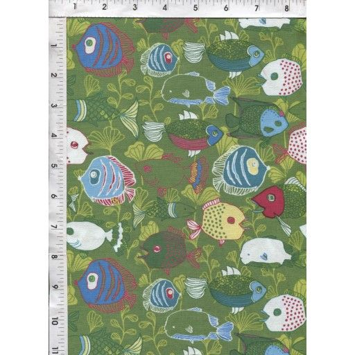 Whimsically drawn and brightly colored fish swim around on a green background. www.americasbestthreads.com