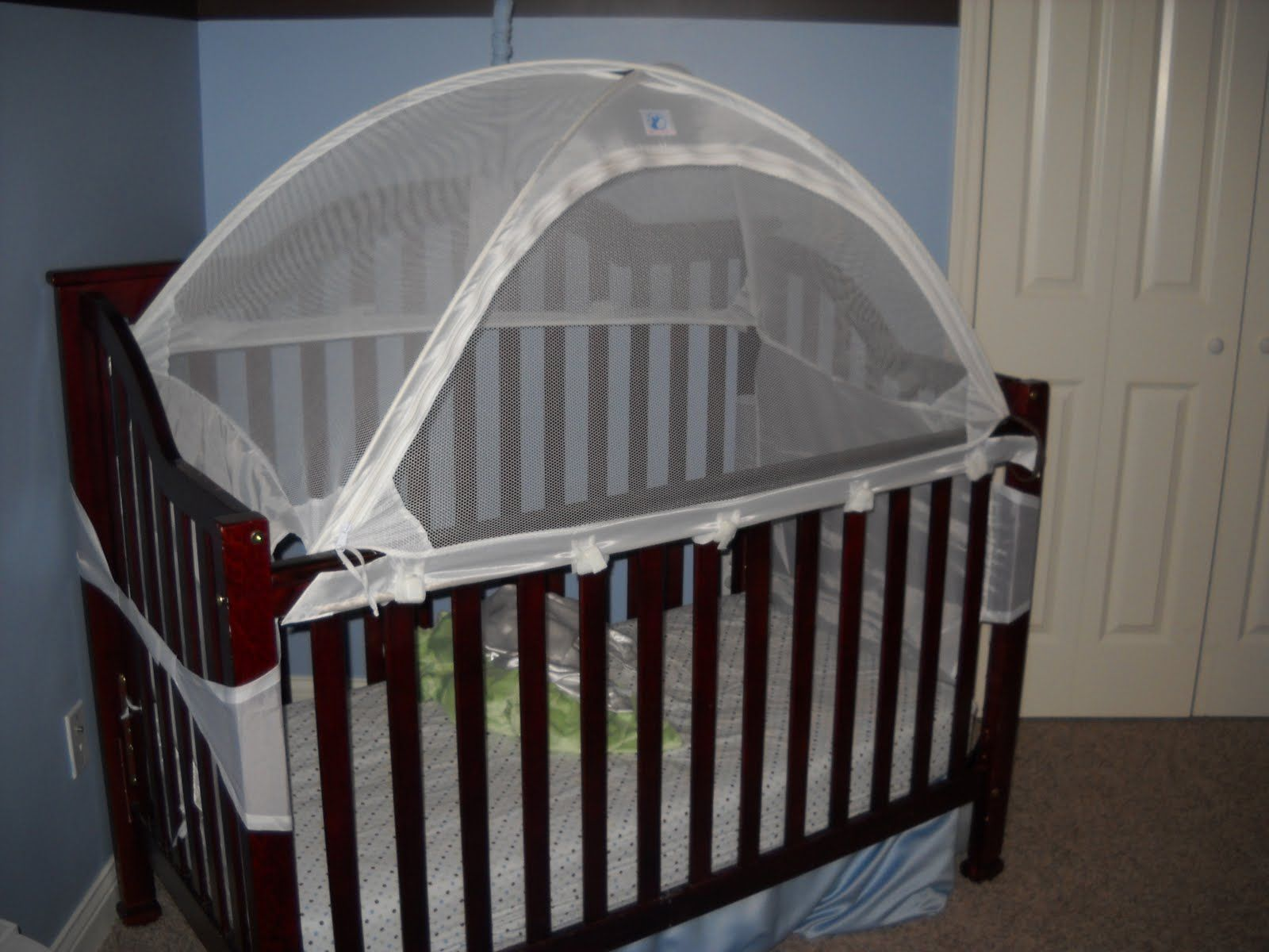 Crib alternatives for babies - Brown Wooden Baby Crib With Small Black Round Pattern White Mattress Accessories And Transparent Style White