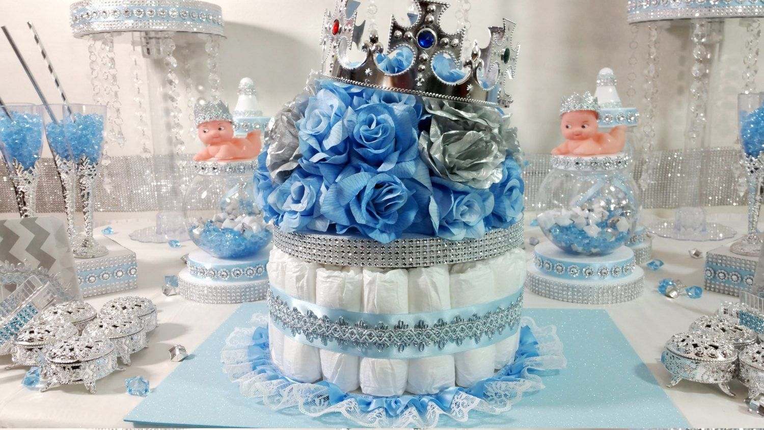 Diaper Cake Boys Centerpiece With Crown For Royal Prince Baby Shower