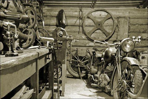 Ancien Atelier Moto Signe 12 X 9 Pouces Vintage Noir Et