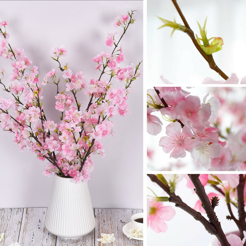 4pcs Artificial Cherry Blossom Flowers Branches Silk Tall Home Flower Art Decor Ideas Fake Flowers Decor Artificial Cherry Blossom Tree Cherry Blossom Vase