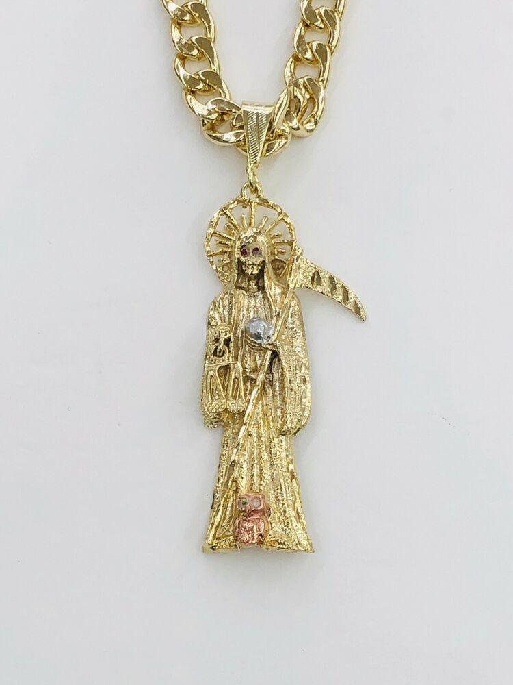 d7e331e5c5fad Gold Plated Dije de la Santa Muerte Grim Reaper Pendant With Miami Chain  #Unbranded #Pendant