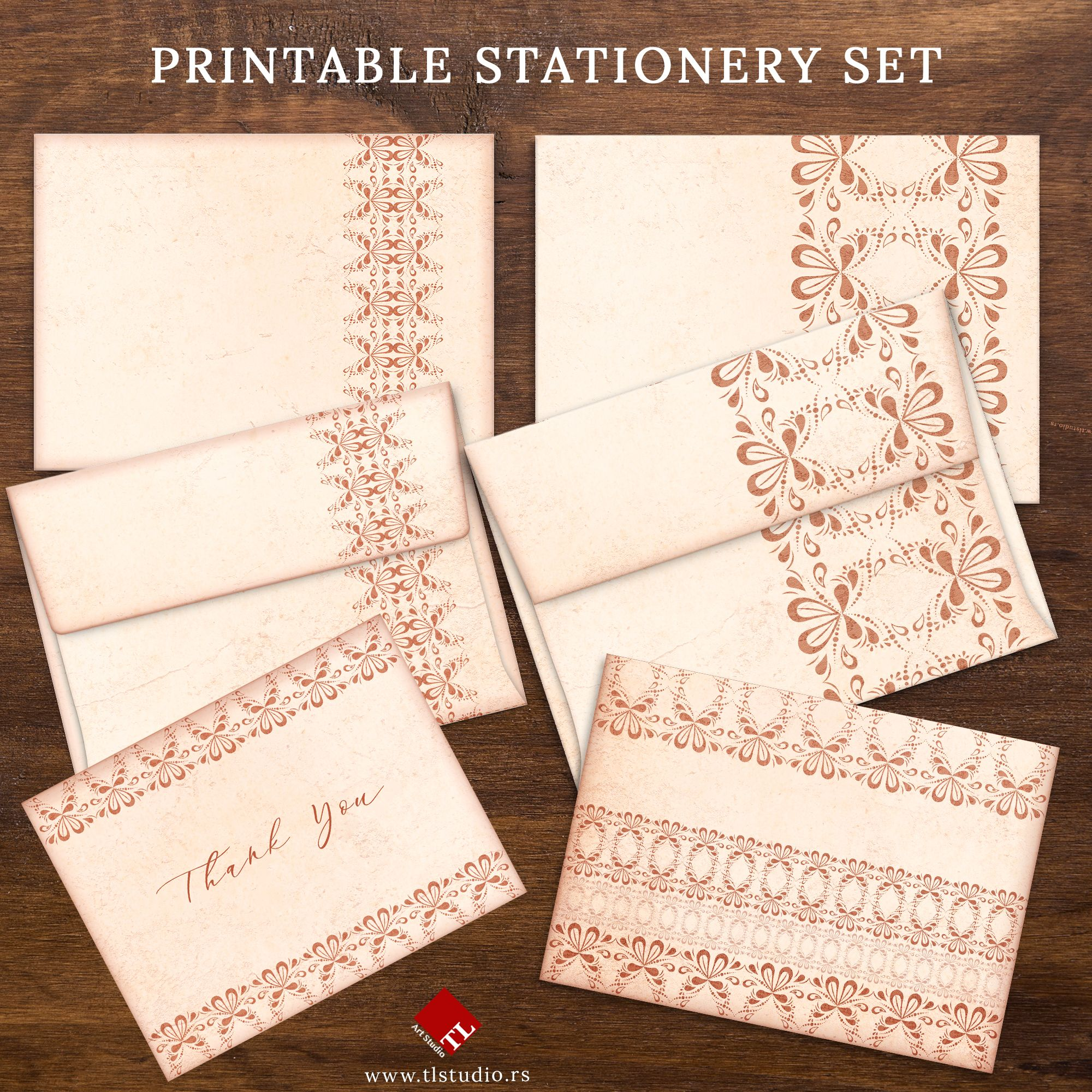 Printable Stationery Set Vintage Style Writing Papers And Note Cards Printable Beige Lace Envelope Templates Printable Stationery Stationery Set Lace Stationery