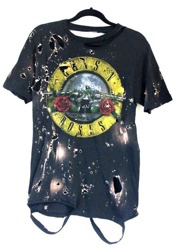 Guns N' Roses Distress Bleached Processed Handmade Rock ...