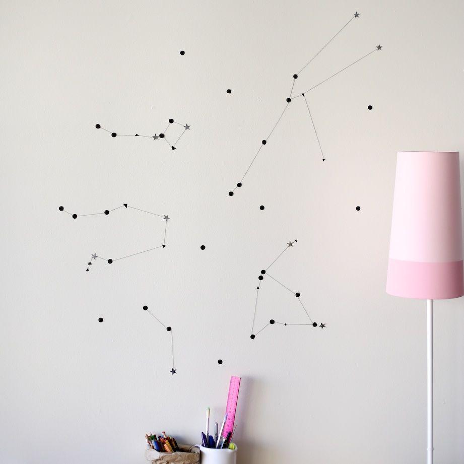 Diy Constellation Wall Decor For A Subtle Revelry Decoracion De Galaxias Pared De La Habitacion Decoracion De Pared