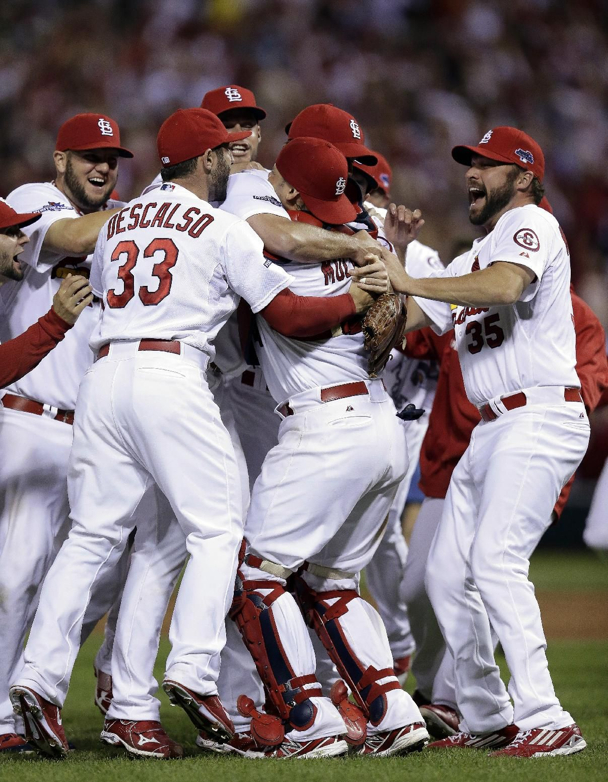 St. Louis Cardinals celebrate after defeating the