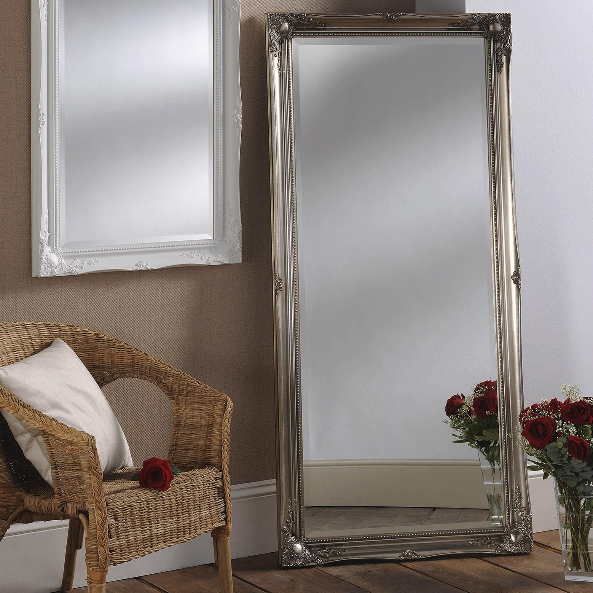 Dunelm Silver Chamberry 168x46cm Leaner Mirror Floor Standing Mirror Baroque Mirror Mirror Decor Living Room