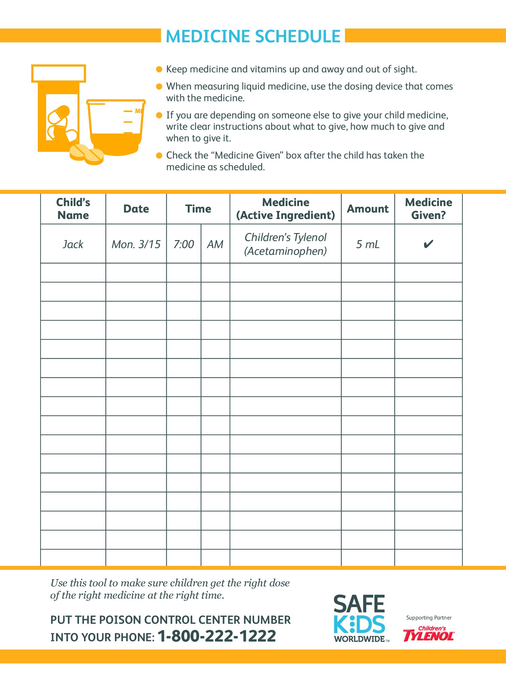 Kid S Medicine Schedule