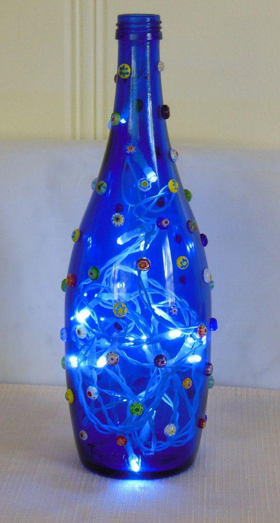 Deep Blue Bottle Lamp and Millefiori Glass Beads by EcoArtbyNancy, $28.00