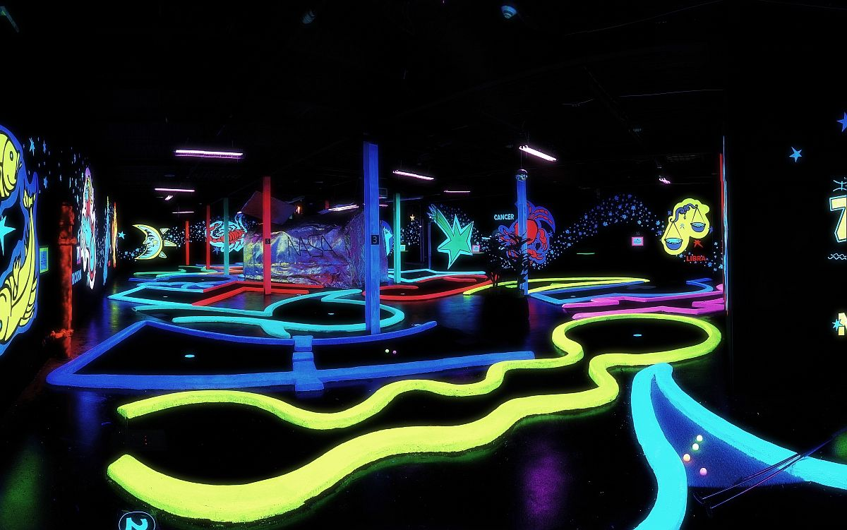 Glow in the dark mini golf | Mini golf, Glow in the dark, Mini golf course