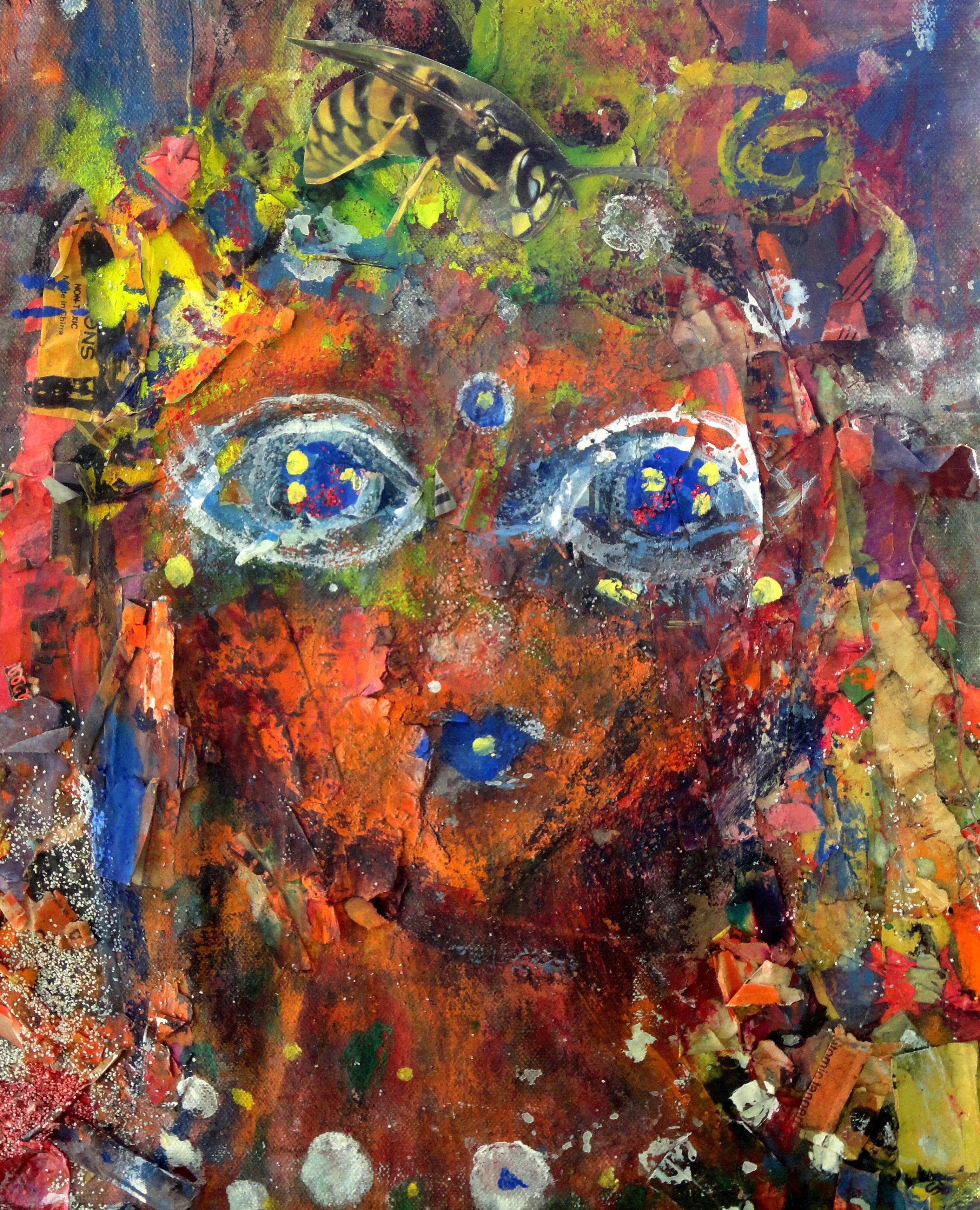 original art. by Juliana Lachance www.julianalachance.com  #recycled #art #painting #bee #queenbee #bees #avant garde