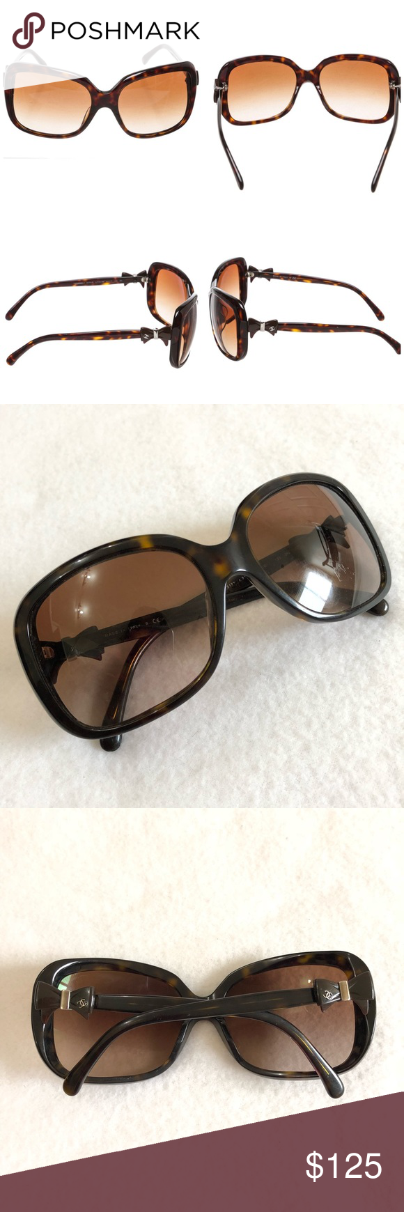 c2abb1eac25 These are Chanel brown plastic tortoise shell bow sunglasses 5171-a  c.714 3B WELL USED w scratches and marks. No box. CHANEL Accessories  Sunglasses