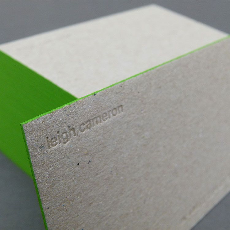 Leighcameronbusinesscardsdebossgreyboarddetail750 blind debossed edge painted business cards on recycled greyboard reheart Image collections