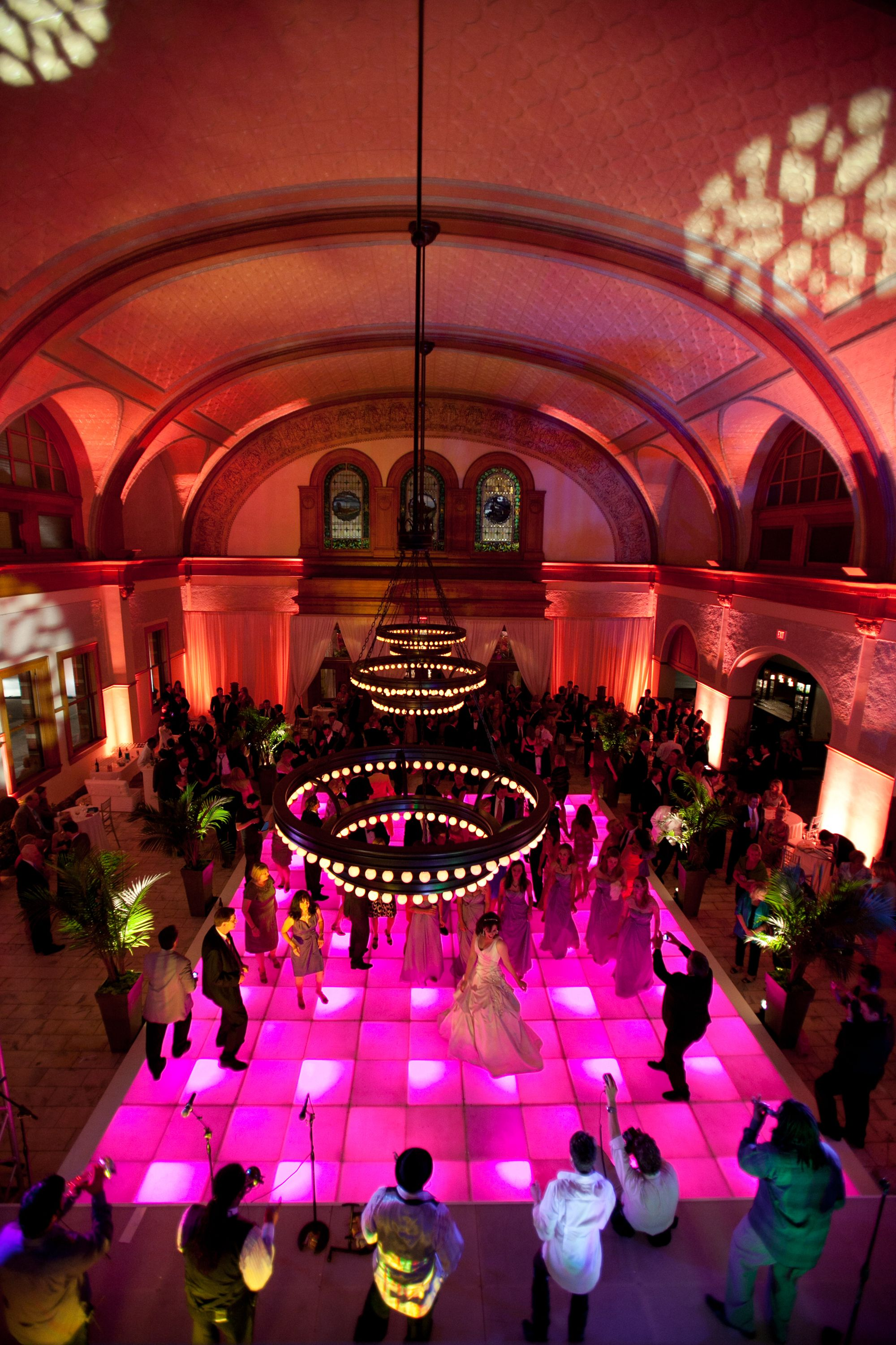 outdoor wedding venues in fort worth tx%0A Vibrant dance floor lighting for a wedding reception at Ashton Depot in Fort  Worth  TX
