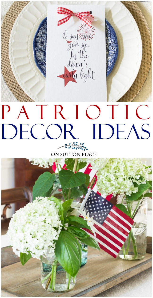 Use these easy, last minute patriotic decor ideas to add red, white and blue to your home. No planning required and super quick! #american #americanstyle #redwhiteandblue