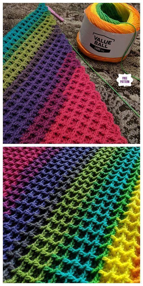 Photo of C2C Waffelstich Decke Free Crochet Pattern, #crochet #decke #pattern #stitch … gestrickt ideen