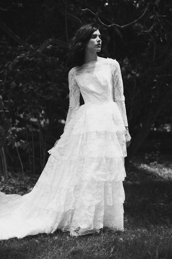 Vintage Tiered Lace 1950s Wedding Gown with Royal Train by ...