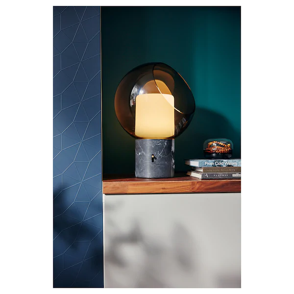Evedal Table Lamp Gray Marble Globe Gray Globe Ikea In 2020 Grey Table Lamps Lamp Table Lamp