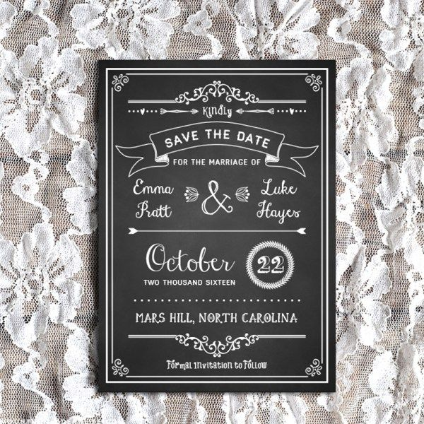Chalkboard Vintage Rustic Diy Invitation Template  FairePart