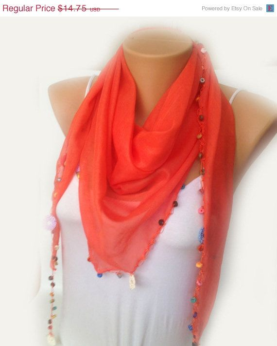 ON SALE Orange Lace Scarf Sheer Cotton with Beads Coral by MaxiJoy, $13.28