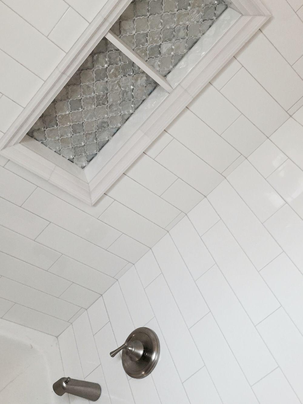 White subway tile arabesque tile shower niche satin nickel hardware white subway tile arabesque tile shower niche satin nickel hardware love dailygadgetfo Images