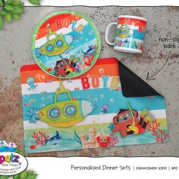 Personalised Kids Unbreakable Plastic Mug Plate BPA Free Rubber Placemat Dinner Set With Name & Personalised Non Slip Kids Dinner Placemats Dinner Time Eat. Drink ...