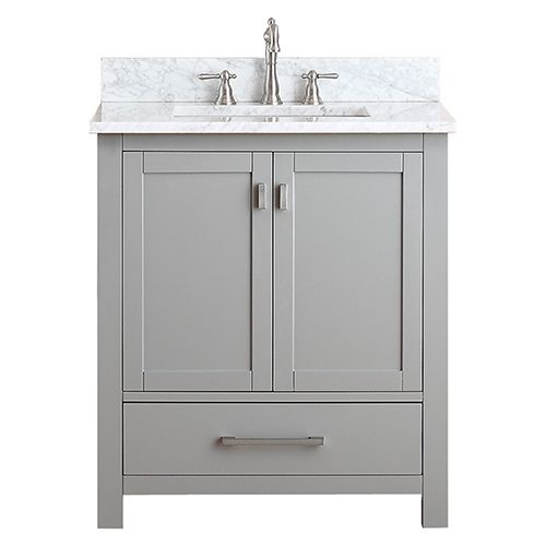 Gallery One Avanity Modero Chilled Gray Inch Vanity Combo with White Carrera Marble Top