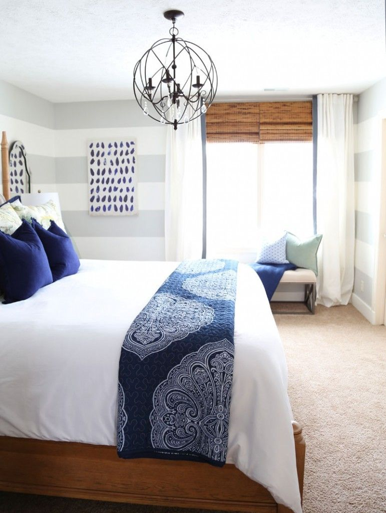 how to design a room you love | linen headboard, orb chandelier